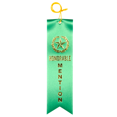 Honorable Mention Ribbon - Green w/Gold Foil