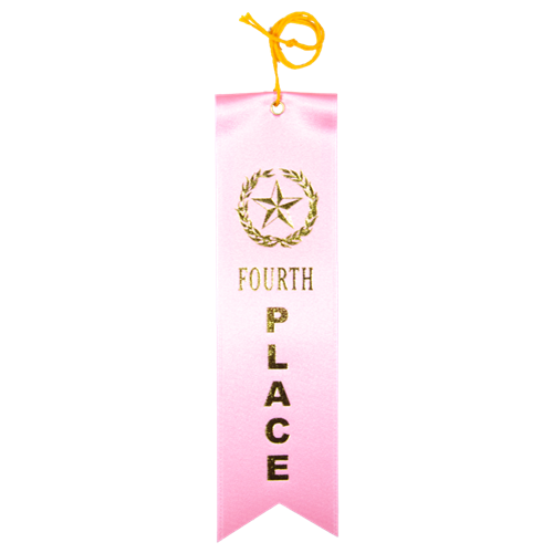 Fourth Place Ribbon - Pink w/Gold Foil