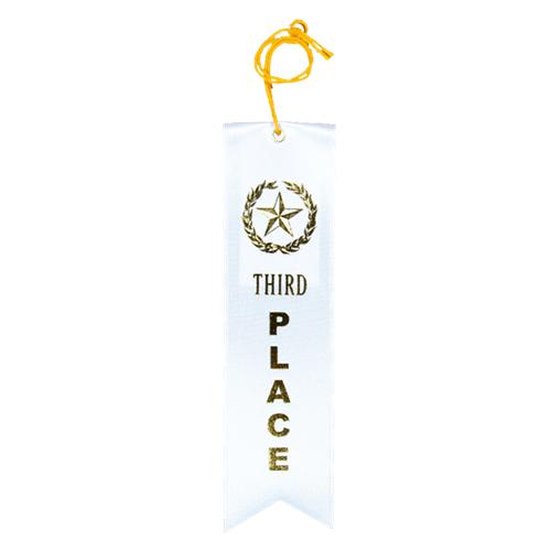 Third Place Ribbon - White w/Gold Foil