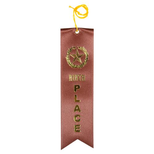 Ninth Place Ribbon - Brown w/Gold Foil