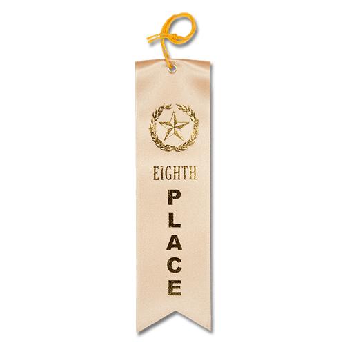 Eighth Place Ribbon - Tan w/Gold Foil