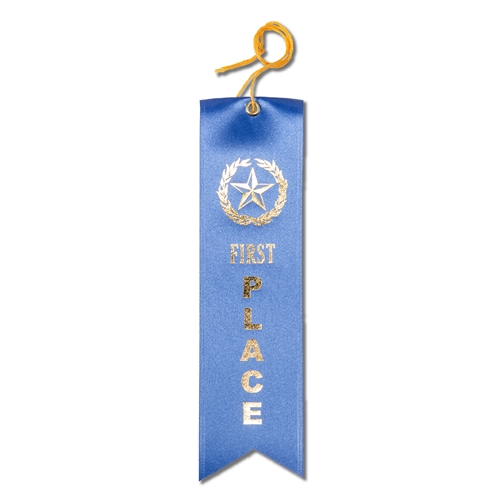First Place Ribbon - Blue w/Gold Foil