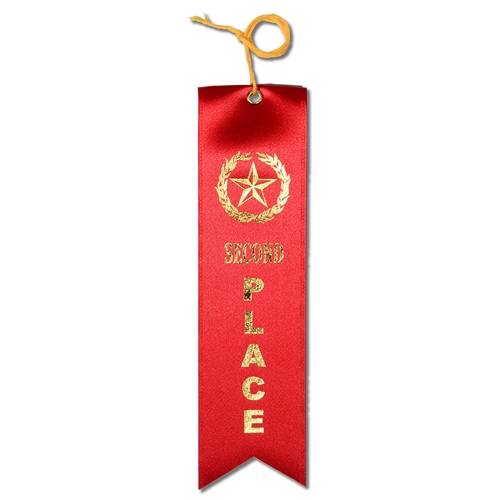 Second Place Ribbon - Red w/Gold Foil