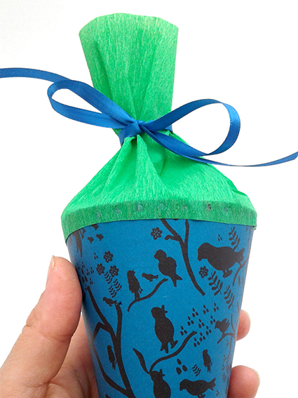 mini schultuete, kathrins papier, blau, gruen