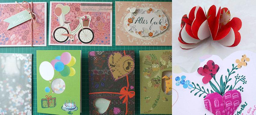 Geburtstagskarten mit Band, Cut-Out, Collage, Glückwunschkarten verschönert