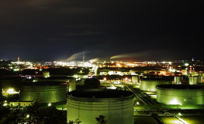 小名浜石油コンビナートの夜景。こうした大スケールの工場夜景を楽しめるのも小名浜の醍醐味。