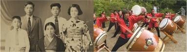 ハワイに移住した福島の家族(左)。ハワイに伝わる福島太鼓(右)。