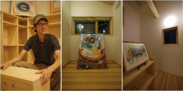 部屋のあちこちに高木(写真左)の作品が展示され、建築のデザインをより引き立てている。