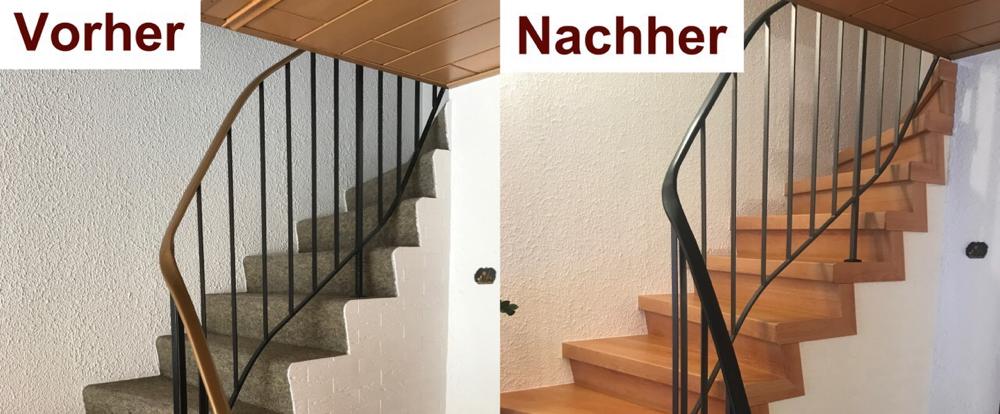 Treppenrenovierung mit Buche Laminatstufen  auf Beton. Die Treppe ist seitlich offen.