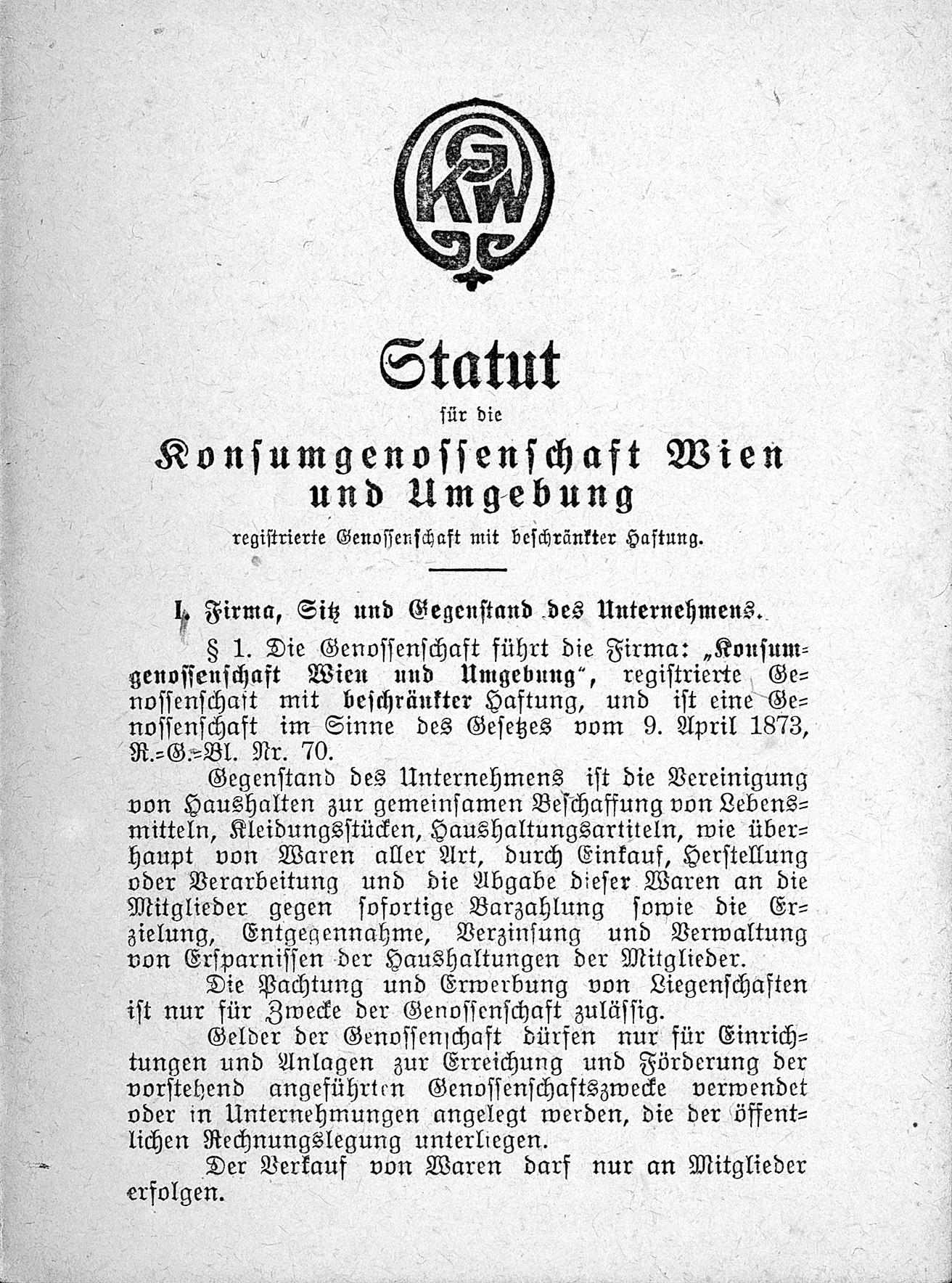 Statut der KGW 1920