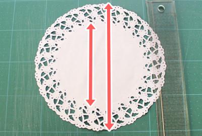 レースペーパーの直径を測る
