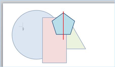 オブジェクトと直線に左右中央揃えを適用