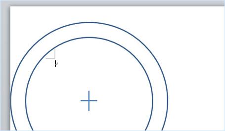 円の中心を示す線を配置