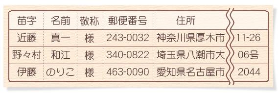 エクセルの名前リストに郵便番号と住所の指示を追加した例