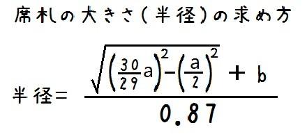 席札の大きさを求める計算式