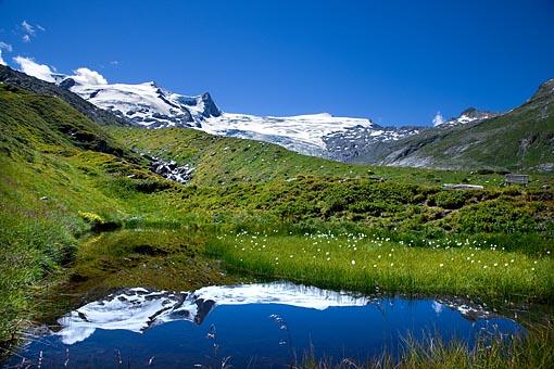 Salzboden See (auch Gottesauge) gegen Schlatenkees und Großvenediger (Großvenediger Gruppe, Osttirol) Nationalpark Hohe Tauern
