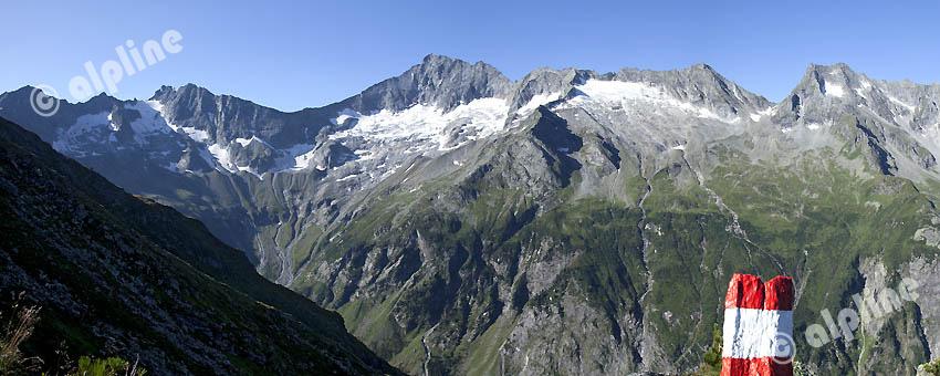 Am 7 Schneiden Weg im Stillupp Tal, Zillertaler Alpen in Tirol, Austria gegen Gr. Löffler, Tirol