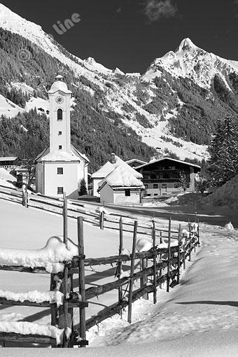 Brandberg bei Mayrhofen gegen Brandberger Kolm, Zillertal, Tirol
