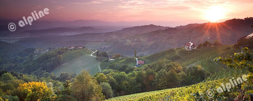 Herbstlicher Sonnenuntergang über den Weinbergen von Kitzeck in der Weststeiermark, Österreich
