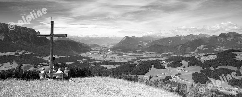 Tirol, unteres Inntal, Ebbs bei Kufstein. Blick vom Staudinger Kreuz bei Wildbichl gegen Kufstein