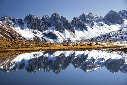 Tirol, Stubaital: Der Salfeins See gegen Kalkkögel (Stubaier Alpen)