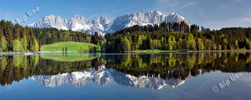Frühling am Schwarzsee bei Kitzbühel mit Kaisergebirge, Tirol