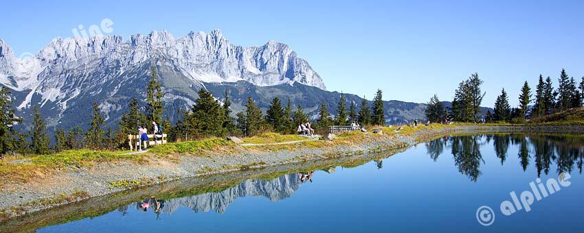 Tirol, Region Kitzbühel: Speichersee am Astberg bei Going a.Wilden Kaiser gegen östliches Kaisergebirge