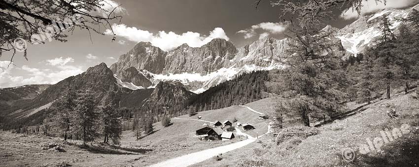 Steiermark: Dachsteinmassiv in der Obersteiermark, v.li. Torstein, Mitterspitz, Dachstein, Dirndl, Hunerkogel mit Seilbahn und re. u. die Austriahütte