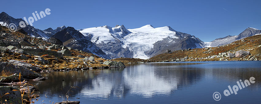 Blick vom Grünsee gegen Großvenediger (Venediger Gruppe, Osttirol) Nationalpark Hohe Tauern, Tirol