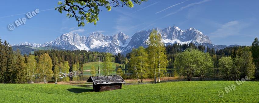 Am Schwarzsee bei Kitzbühel gegen Wilden Kaiser, Tirol