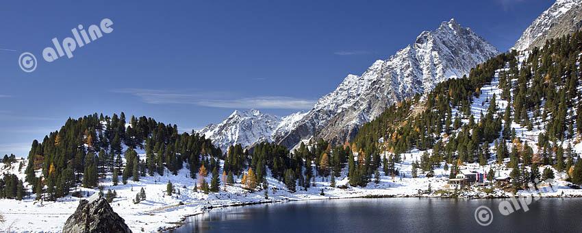 Obersee am Stallersattel in Osttirol gegen den Hochgall, Rießerferner Gruppe, Südtirol