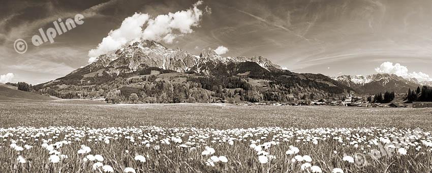 Die Leoganger Steinberge im Pinzgau, Salzburger Land (sepiagetont)