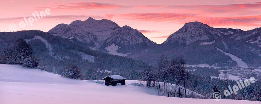 Morgenstimmung bei Fieberbrunn gegen Spielberghorn, Tirol