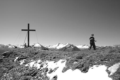 Grenzbereich zu Salzburg, Gabler und Reichenspitze in den östlichsten Zillertaler Alpen, vorne Königsleitenspitz, Tirol
