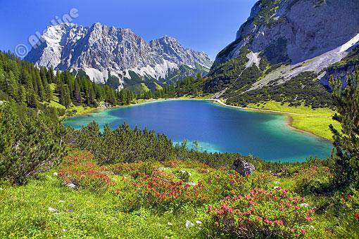 Seebensee mit Zugspitze bei Ehrwald in Tirol