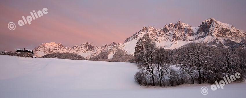 Der Wilde Kaiser bei Going, Nähe Kitzbühel bei einer Föhnstimmung am frühen Morgen, Tirol