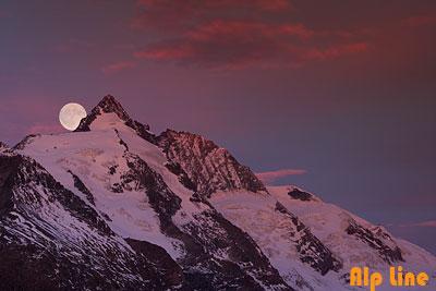 Vollmond über dem Großglockner, Nationalpark Hohe Tauern