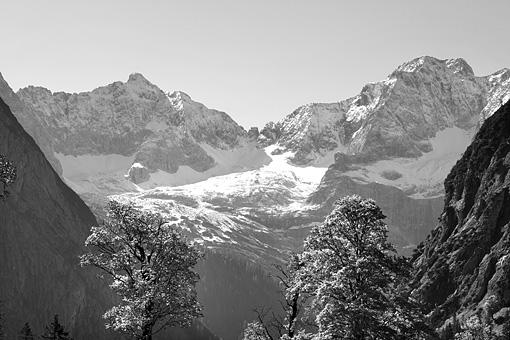 Ahornboden im Karwendel in Schwarzweiss, Tirol
