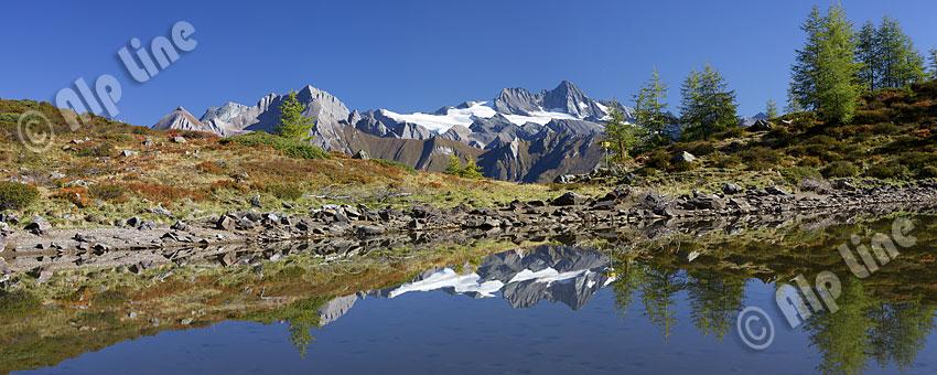 Am Zunigsee in den Deferegger Bergen gegen Großglockner, Nationalpark Hohe Tauern, Osttirol