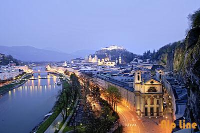 Salzburg bei Nacht, Festung Hohensalzburg
