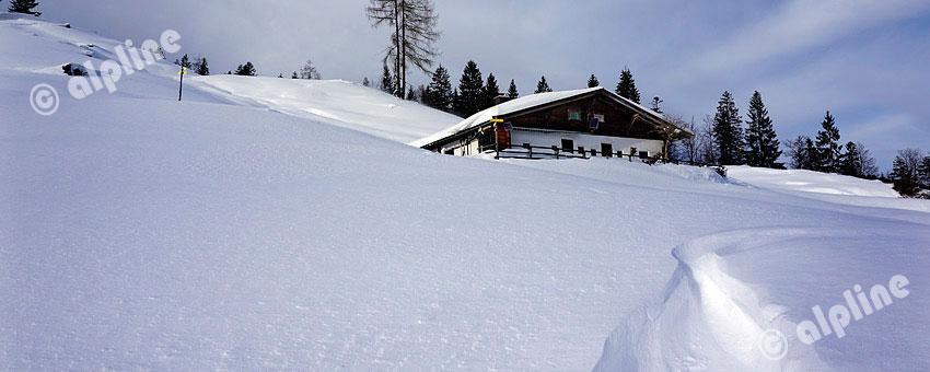 Tiefwinterliche Almlandschaft am Pillersee in Tirol