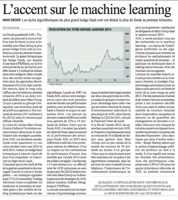 L'Agefi: L'accent sur le machine learning (Log-in notwendig)