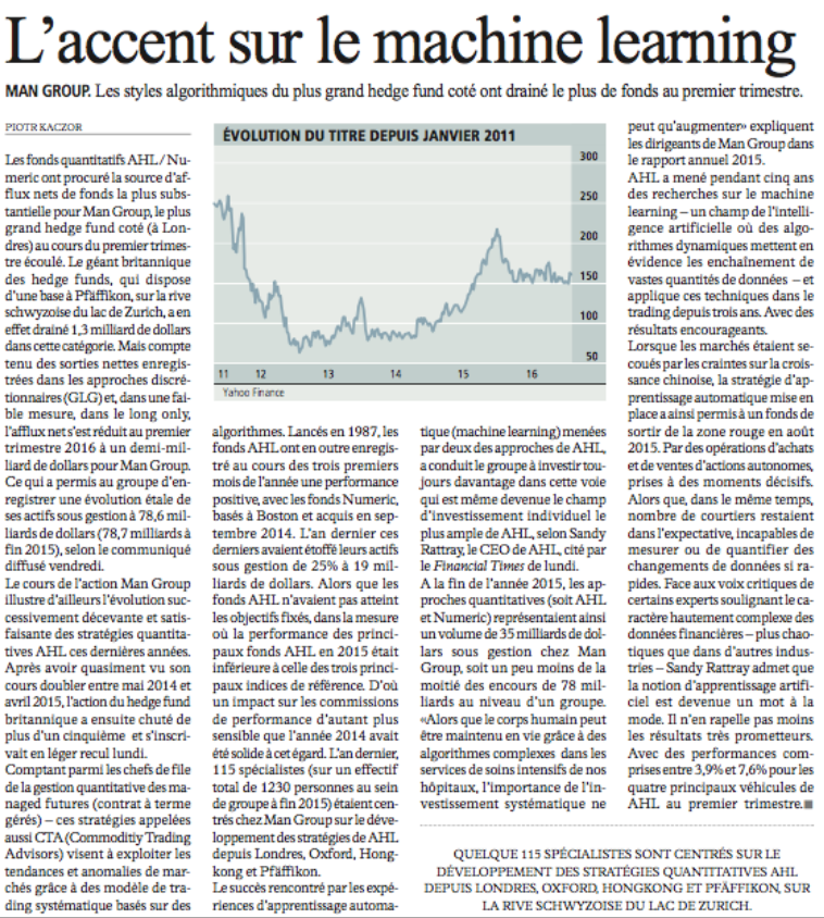 L'Agefi: L'accent sur le machine learning