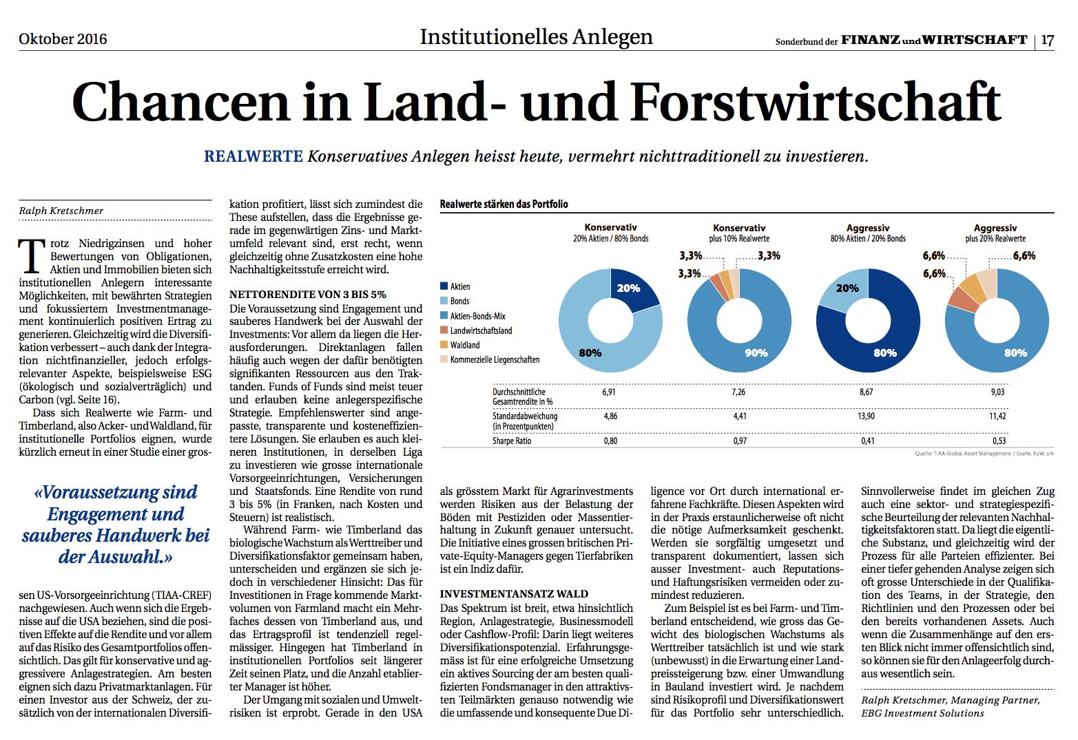 FuW: Sonderbeilage Institutionelles Anlegen: Chancen in Forts- und Landwirtschaft