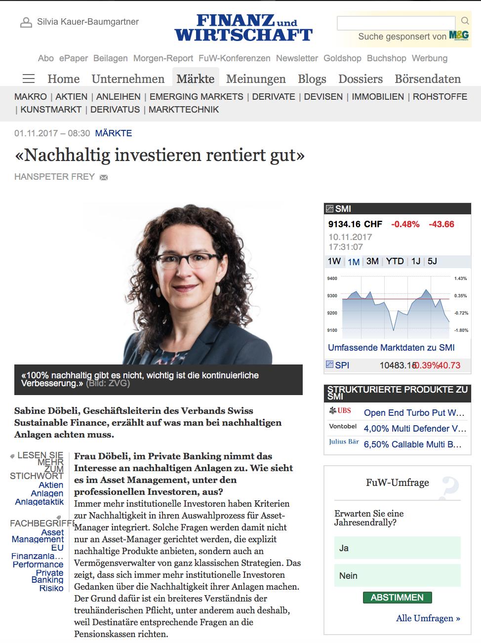 FuW: Sonderbeilage Institutionelles Anlegen: Nachhaltig investieren rentiert gut
