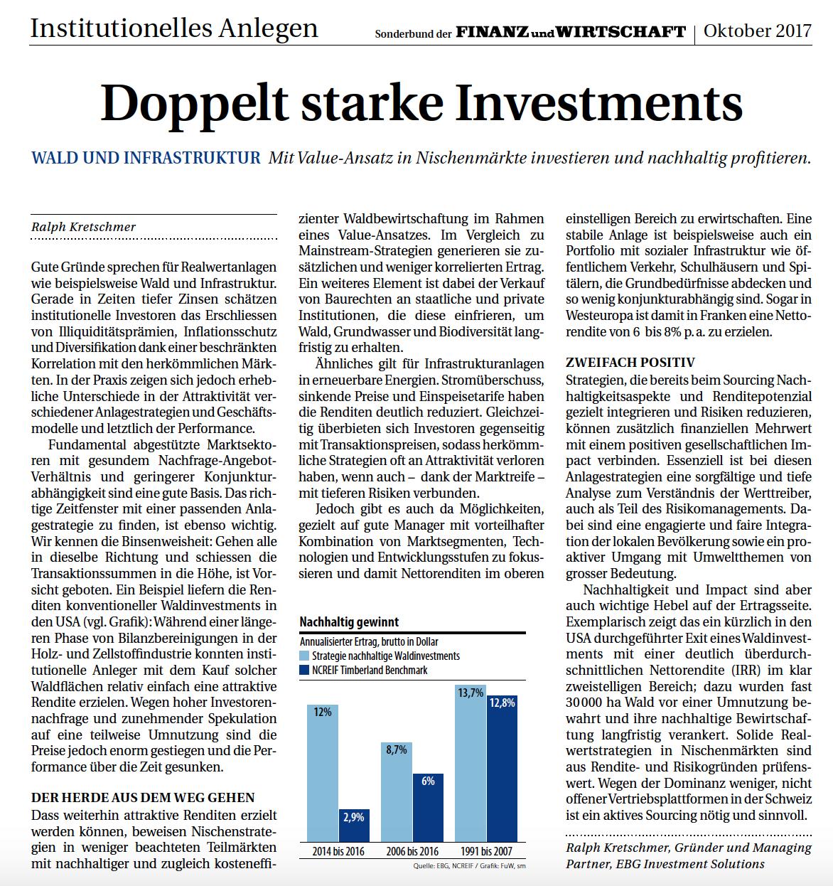 FuW: Sonderbeilage Institutionelles Anlegen: Doppelt starke Investments (S. 23)