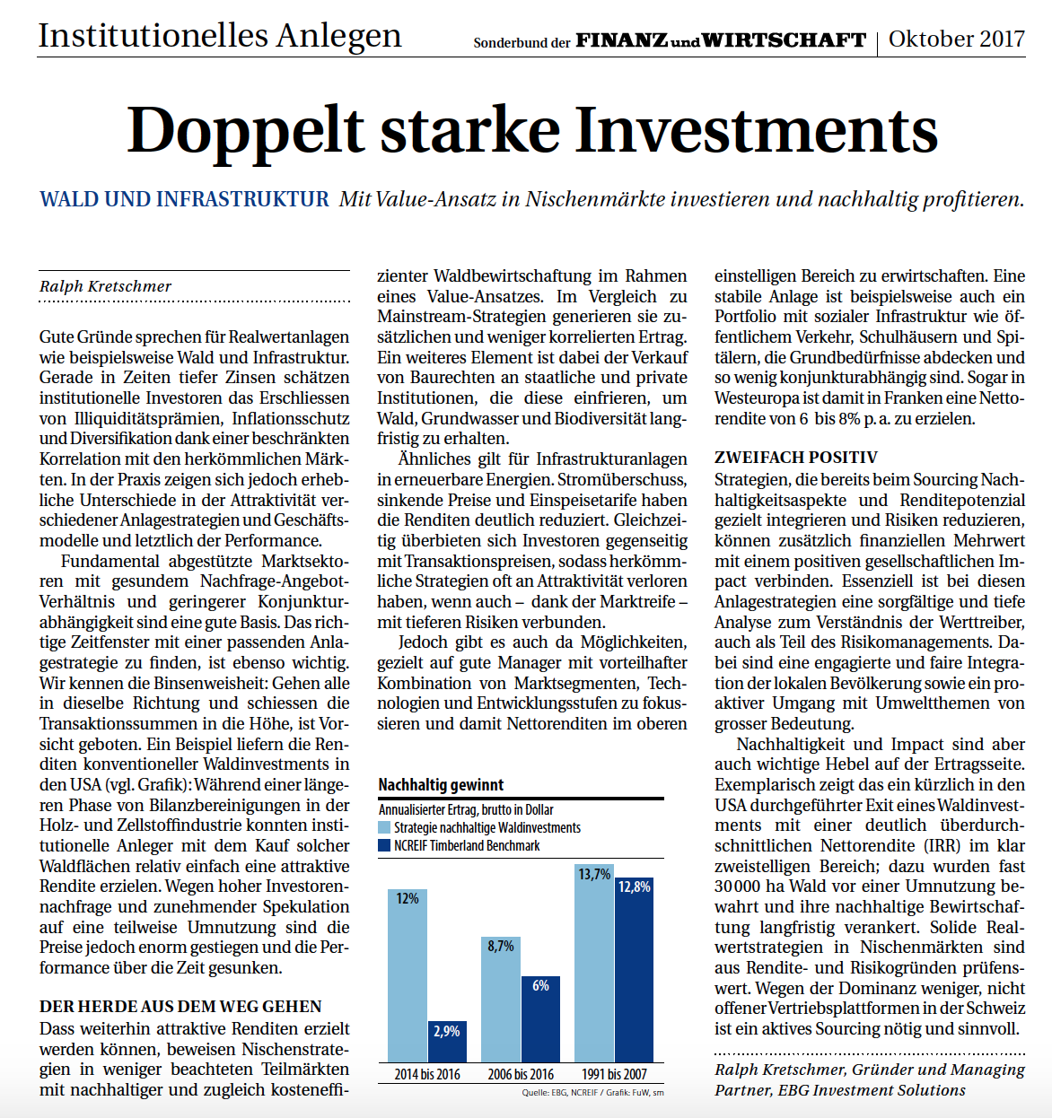 FuW: Sonderbeilage Institutionelles Anlegen (S. 23): Doppelt starke Investments