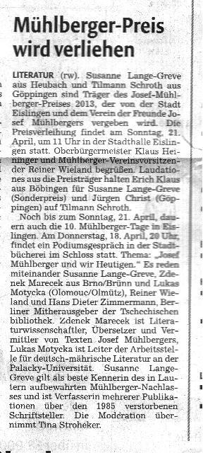 Wir danken Herrn Wilhelm Lienert aus Schwäbisch Gmünd für den Textausschnit aus der Gmünder Tagespost !