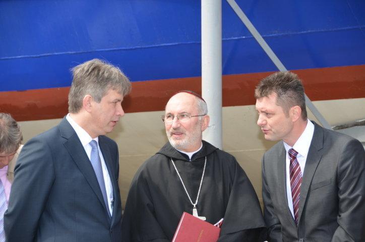 Roman Onderka, Abt   Evzen Martinec, Miloš Havránek, der Direktor der Städtischen Verkehrsbetriebe der Stadt Brünn