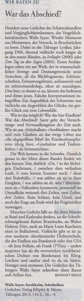 """Kommentar der """"Zeit"""" zu der Neuerscheinung von Walle Sayer """"Strohhalm, Stützbalken"""" vom 23.5.2013"""